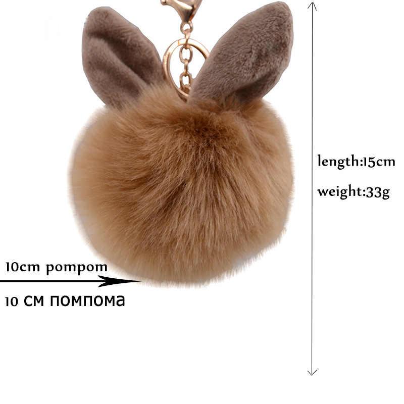 Novo casaco de pele falsa pele de coelho bola pompom keychain do anel chave porte clave de sol saco fofo Pingentes de Coelho pompom de fourrure chaveiros