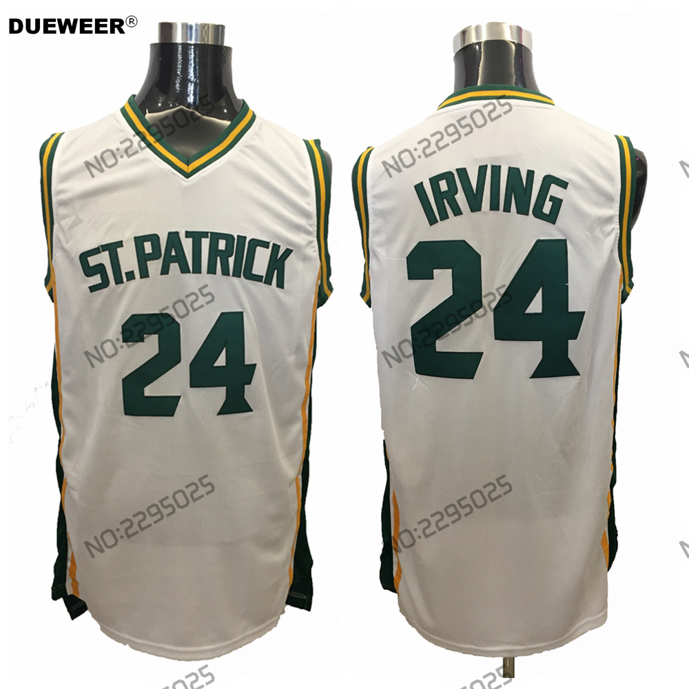 431f5ec6eaff DUEWEER Mens Kyrie Irving Throwback Basketball Jersey Kyrie Irving 24 St. Patrick  High School Stitched White Retro Shirts-in Basketball Jerseys from Sports  ...