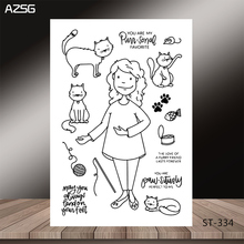 AZSG Frugal Housewife Lovely Cat Clear Stamps/Seals For DIY Scrapbooking/Card Making/Album Decorative Silicone Stamp Crafts
