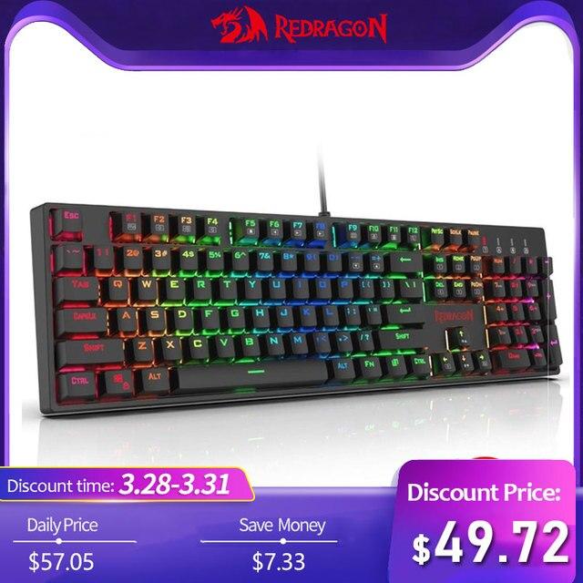 7d7f9e0cd37 Redragon K582 SURARA Mechanical Gaming Keyboard RGB LED Backlit with 104  ABS Keys-Linear Quiet