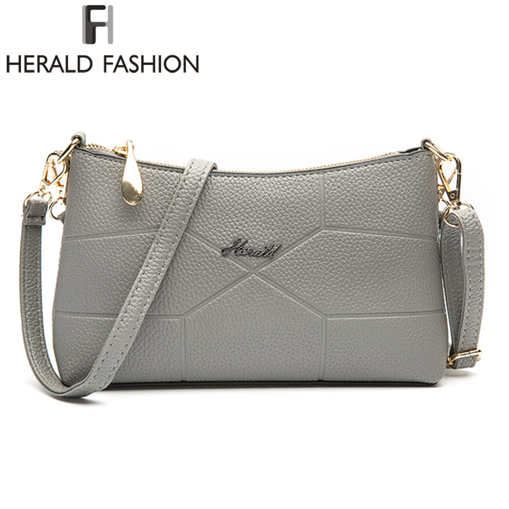 Herald Fashion Brand New Women Shoulder Bag Casual PU Leather Messenger Bag Famous Designer Crossbody Bag For Ladies Fashion Bag new 2017 fashion leather lady patchwork natural sheepskin shoulder bag famous brand women s bag casual bag