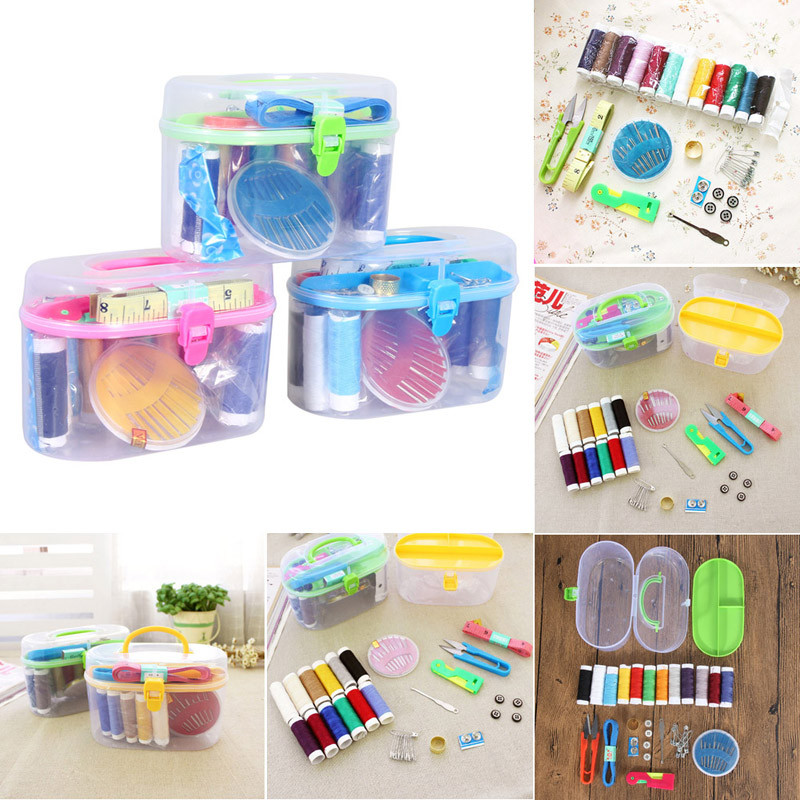 Cheap Sewing Accessories Thread Threader Needle Tape Measure Scissor Thimble Box Bag For Home Accessories
