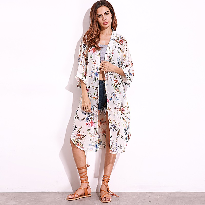 ZANZEA Women Vintage Bohemian Kimono Outwear 2019 Casual Loose Long Cardigan Ladies Chiffon   Blouses     Shirts   Smock Plus Size Tops