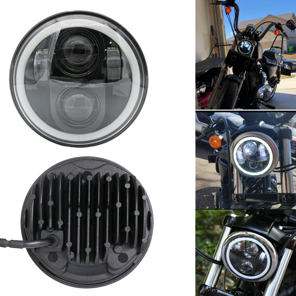 5.75 Inch LED H4 Headlight Headlamp Halo Ring White DRL Angel eye for Harley 883 iron, 883 sportster, softail, touring road king5.75 Inch LED H4 Headlight Headlamp Halo Ring White DRL Angel eye for Harley 883 iron, 883 sportster, softail, touring road king