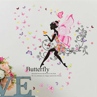 Fashion Fairy Plays With Butterflies DIY Wall Sticker Colorful Home Decor Mural Bedroom Art Decal