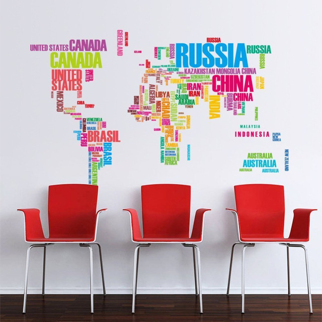 World Map Removable Wall Sticker.Color World Map Removable Wall Decal Art Mural Home Wall Stickers