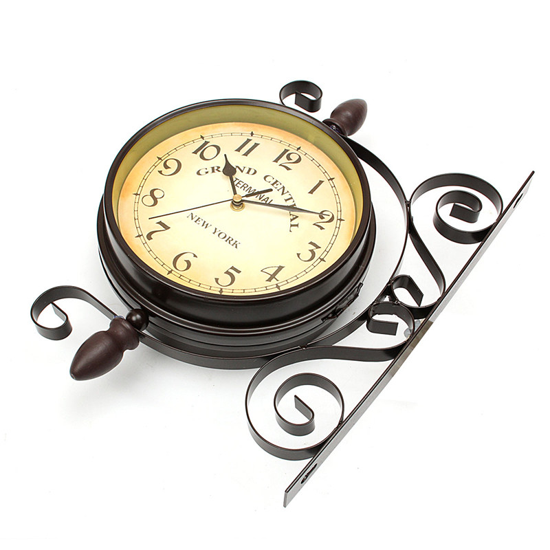 Charminer Vintage Decorative Double Sided Metal Wall Clock