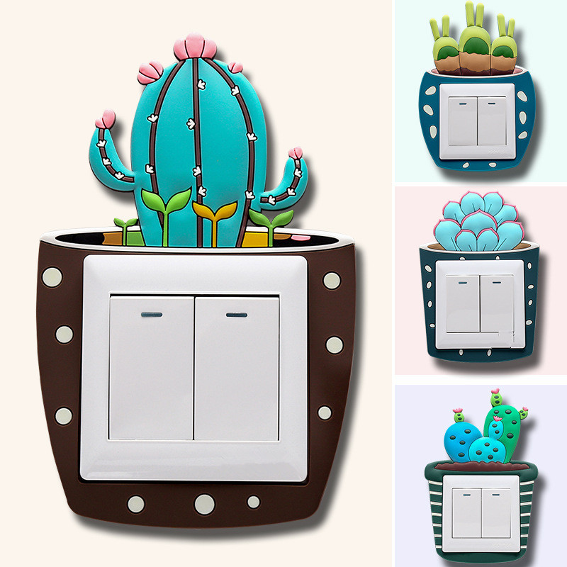 Fluorescent Light Goes On And Off: Cute Cartoon Wall Silicone 3D Cactus Fluorescent On Off
