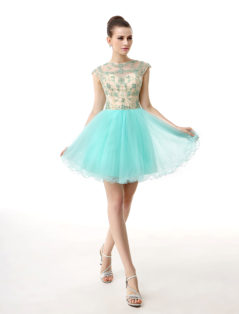 Real Photos Sparkly Turquoise Short Junior Tulle Homecoming Party ...