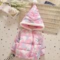 Мода малыш печатных хлопок ватные куртки Новорожденный девушка с капюшоном пальто хлопка Зимняя одежда 0-24 Месяцев
