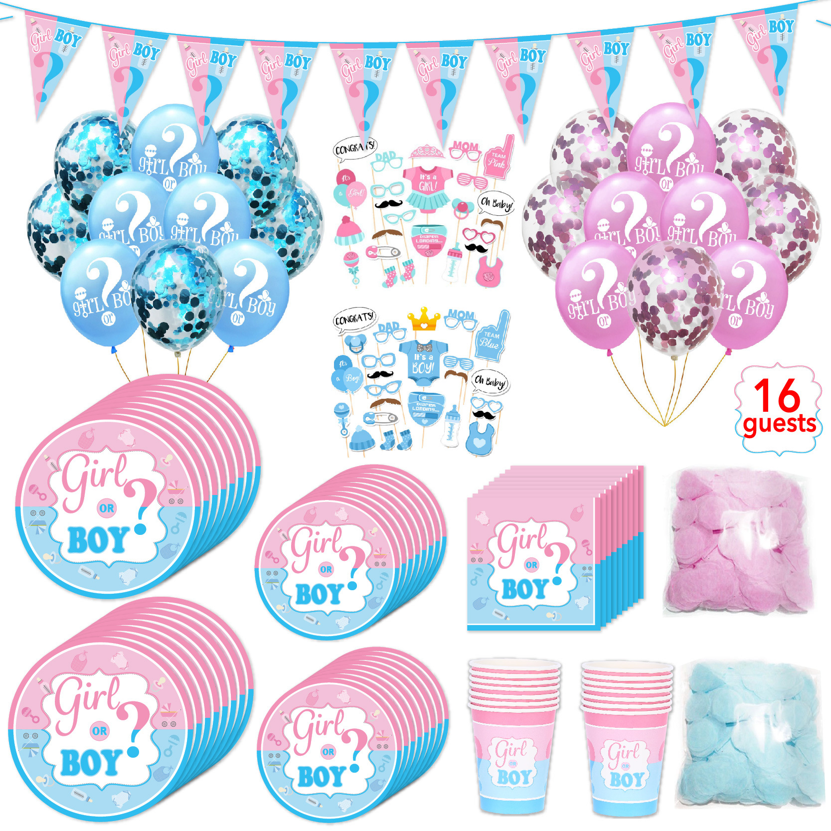 98 pièces/ensemble thème fête vaisselle jetable ensembles pour 16 invités rose bleu papier plaque tasse serviette sexe révéler fête fournitures