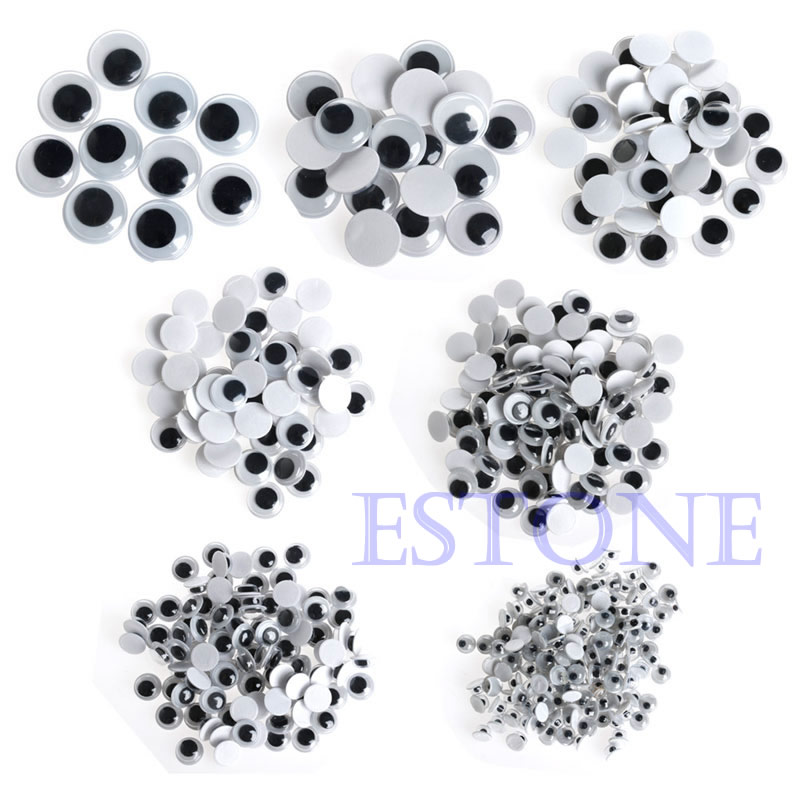520PCS Wiggly Wobbly Googly Eyes Self adhesive Scrapbooking Crafts Mixed 6 8 10 12 14 20 mm цена