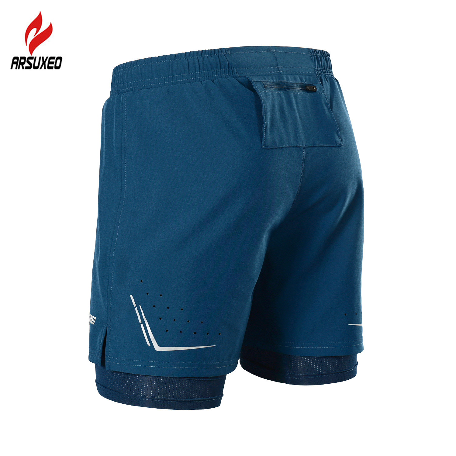 ARSUXEO 2 In 1 Men Running Shorts Reflective Quick Dry Compression Jogging Gym Fitness Marathon Sport Shorts With Zipper Pocket