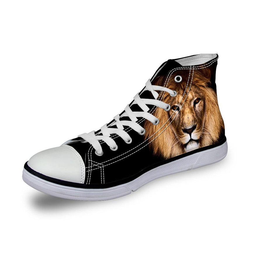 Toile Dentelle Mode Top h062ak High c3966ak Pour Chaussures w645ak Les Adolescents Noisydesigns Hommes h063ak Appartements Mâle Animaux Vulcaniser h061ak Custom Étudiant Lion c4275ak 2018 up 3d Imprimé Xq51P