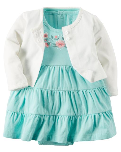 Kids baby girl dress bebes muchacha 2 unids set 100% algodón jumpsuit + dress + shorts dress muchacha del niño recién nacido ropa