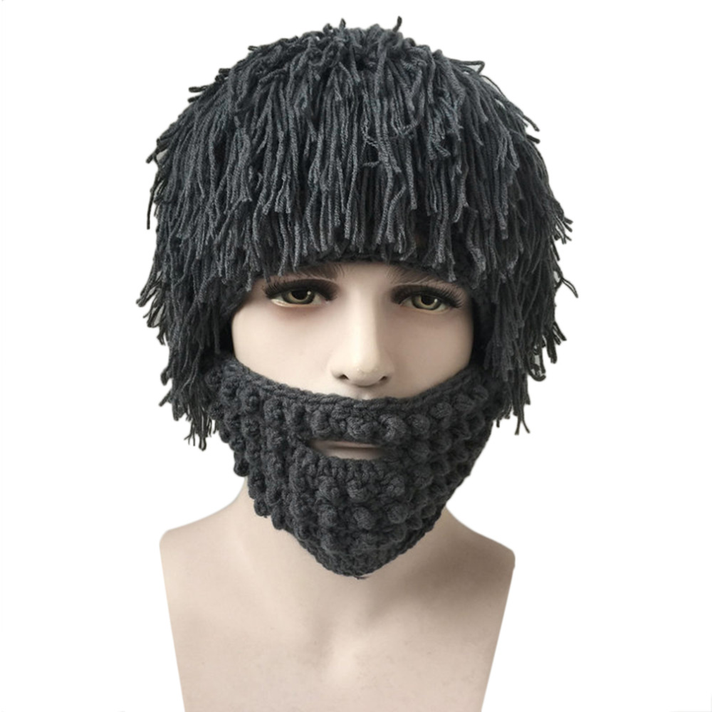 2017 Halloween Men Winter Fake Wigs Knit Wool Face Mask Hat Hobo Cap Beanie