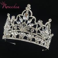 2018 New Big European Bride Wedding Tiara Crowns Rhodium Plated Crystal Queen Tiara Wedding Hair Accessories RE3179