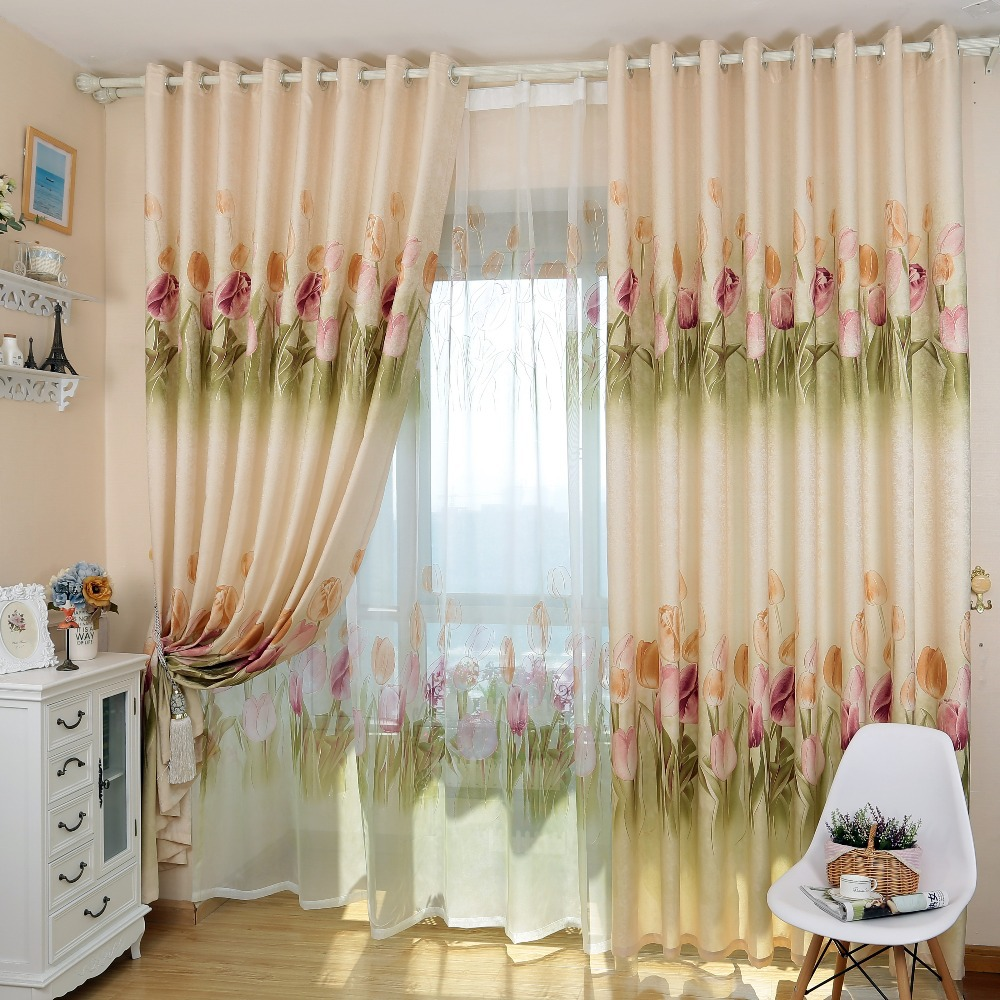 Simple design rustic tulip floral design home semi blackout blind