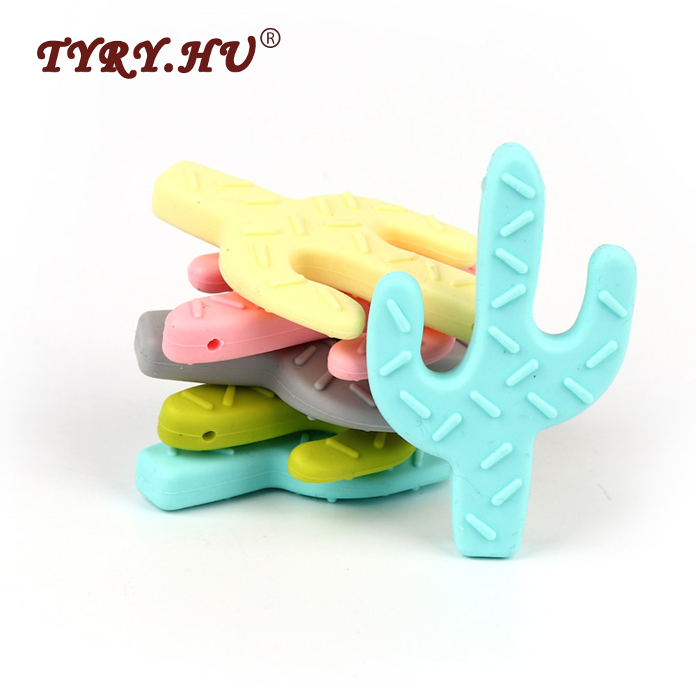 TYRY HU 10Pcs Cactus Silicone Teether Food Grade Baby Teething Pacifier Chain Nursing For Baby DIY