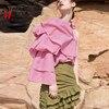 2017 European Fashion Summer Women Pink Black Blouse Shirt One Shoulder Long Sleeve Polka Dot Printed