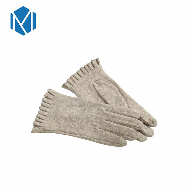 Miya Mona 2018 New Women Winter Wool Gloves Elegant Warm Plush Lacework Screen Sense Glove Mittens Cashmere Gloves Luvas Guantes