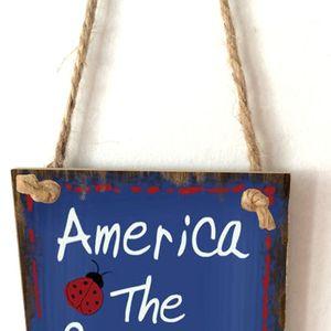 Image 4 - 빈티지 나무 교수형 플라크 미국 아름다운 꽃 사인 보드 벽 문 홈 인테리어 독립 기념일 파티 선물