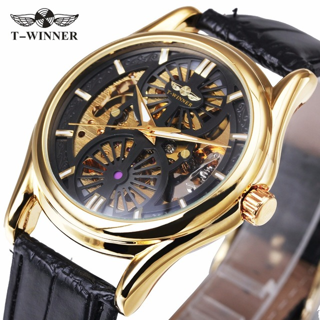 649e19dc5b8 WINNER Fashion Dress Men Golden Automatic Mechanical Watch Leather Strap  Skeleton Dial Classic Design Gentlemen Wristwatch