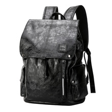 Men PU Leather Waterproof Laptop Backpack Fashion Vintage Travel Backpack 2018 Teenage School Black Bookbag цена 2017