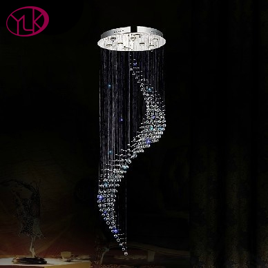New Modern Spiral Design Modern LED Crystal Chandelier Dia60 H260cm Dimmable Light Long Crystal Stair Lighting