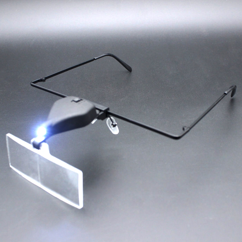 Eyeglass Magnifier with LED Lamp with 1 5X 2 5X 3 5X Lens Illuminated Magnifying Glass Loupe Make Both Hands Free for Repairing in Magnifiers from Tools