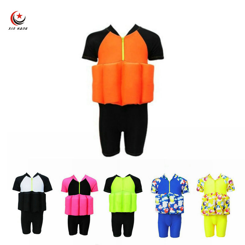 Baby Buoyancy Swimwear With Swim Cap Girl Float Suits Kids Learn To Swim Trainining Tools Boys Surf Life Vest Water Safety Cloth