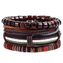 Wood Beads Genuine Leather Braided Bracelet for Men Black Brown Leather Bracelet Set 4pcs Hemp Rope Braided Jewelry for Male цена