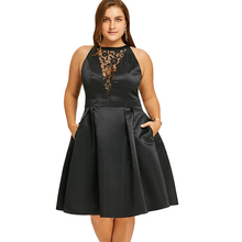 76c9aee5692ad Wipalo Plus Size Dress Women Black Sexy Party Dress Robes Lace Insert  Sleeveless Swing Dresses Vestidos