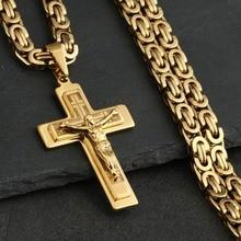 112899ef2241 Acero inoxidable de los hombres Jesús Cristo Santa crucifijo Cruz colgantes  collares Catolicos cadena larga collares niños regal.