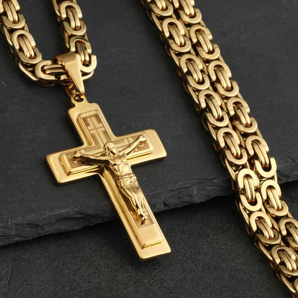 Jesus Christ Crucifix Pendant Gold Plated Metal Cross Charm For Necklace Chain