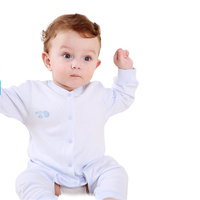 Open File Covered Button Baby Clothes Baby Boy Clothes Long Sleeve Cotton Jumpsuit Crawl High Quality