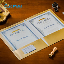CUCKOO Double-sided folder contract/credit card holding aluminium-foil shining matte gold/silver document 3pcs/lot