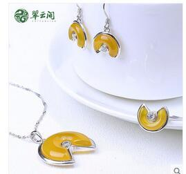 Jade inlaid Silver Onyx Topaz Pendant Earrings Earrings three set set of chalcedony with certificate