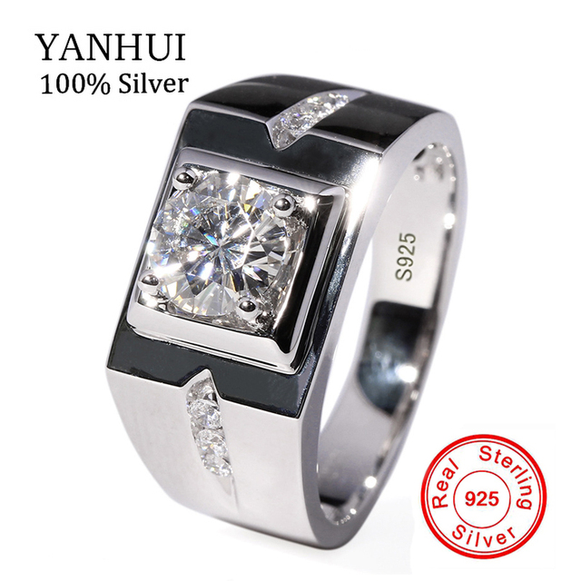 YANHUI Luxury Men Ring Real 925 Sterling Silver Wedding Rings for
