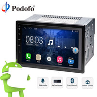Podofo 2 Din Car Radio Player GPS Navigation Bluetooth Android 6.0 Quad Core Touch screen Car Media Player Universal For Nissan