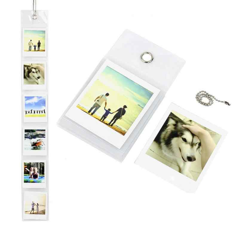 6 pcs DIY Combination Wall Photo Frame With Metal Chain Wall Hanging Photo Paper Frame Set Picture Display Album Home Decor