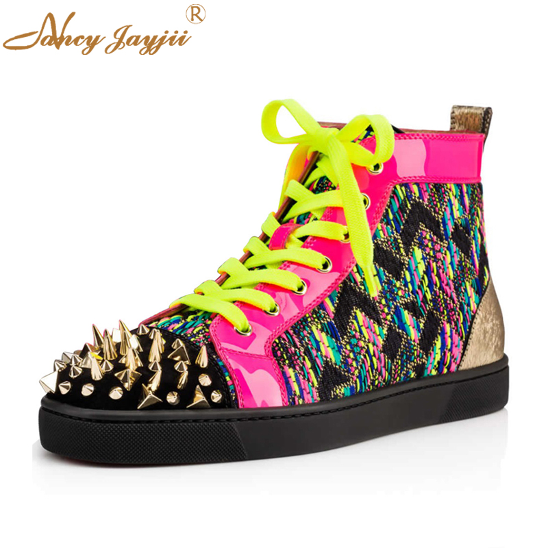 Nancyjayjii Multicolor & Grey Genuine Leather Round Toe Lace-Up Flat Heels  Women Shoes Witth Rivets Upon ,Plus Size 4-16 .