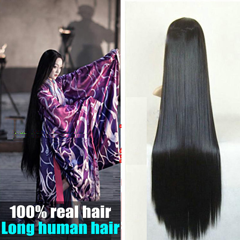 100 Real People Hair 32inch Long Straight Hairpieces 1pcs 5 6 Clips