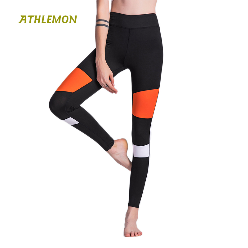 Women Patchwork Leggings Yoga Pants Sport Fitness Gym Leggings High Waist Elastic Compression Capri Pants for Workout Run Tights