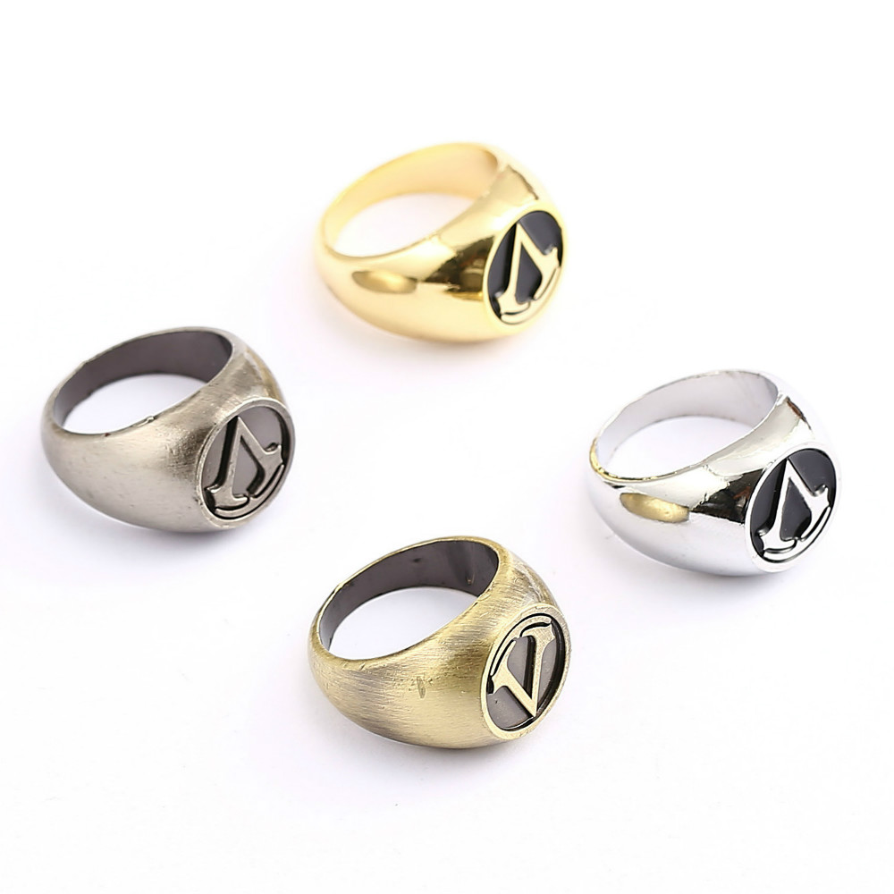 Assassins Creed Master Ring Anime Cosplay Bronze Gold Color Men Rings For Halloween Party Christmas El anillo Accessory HC11641