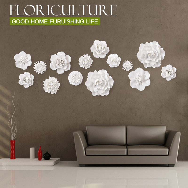 Ceramic Wall Flower Decor: 1PCS White Stereo Ceramic Flowers Wall Stickers For