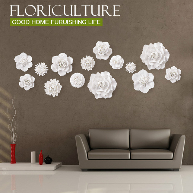 1pcs white stereo ceramic flowers wall stickers for kitchen bedroom wall tv background wall stickers flower home decoration in wall stickers from 1pcs white stereo ceramic flowers wall stickers for kitchen bedroom wall tv background wall stickers flower m