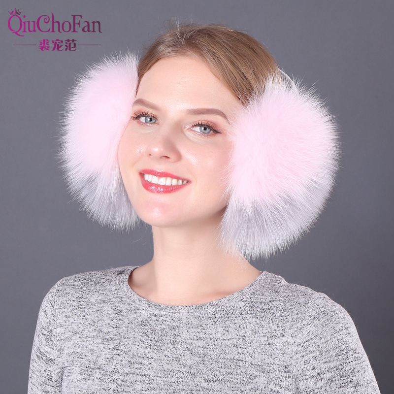 Real Fox Fur Earmuffs For Winter Women Warm Natural Raccoon Fur Earmuffs Girl's Earlap Genuine Fur Plush Ear Muff