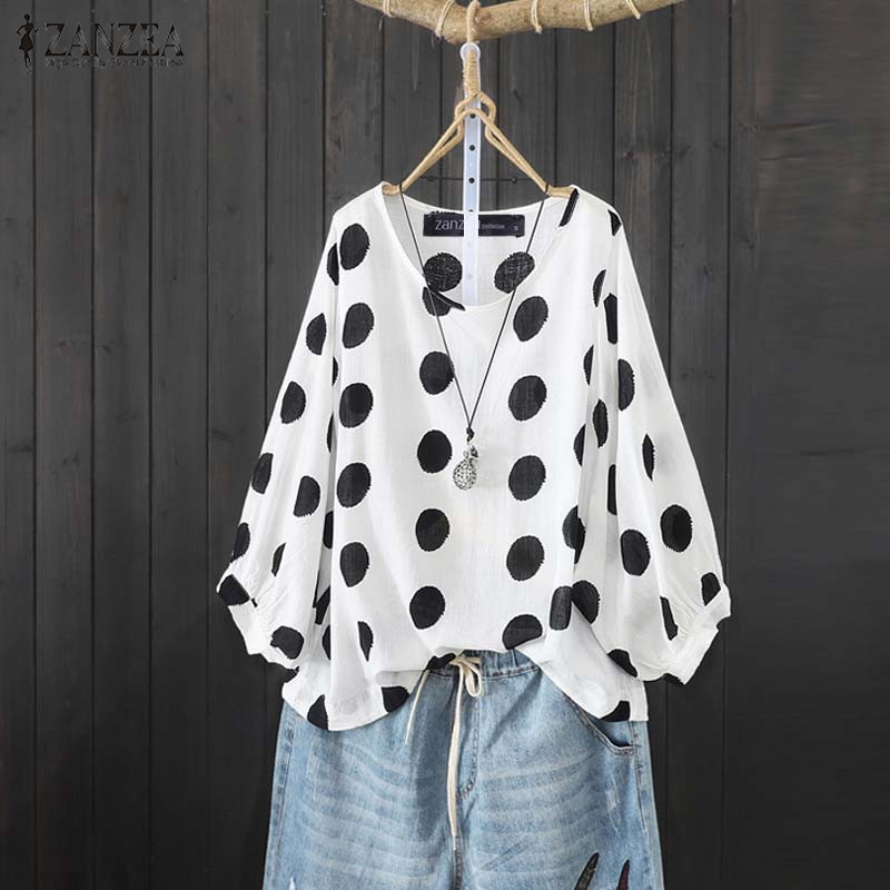 ZANZEA Fashion Women Polka Dot Lantern Sleeve Blouse Summer Shirt Femininas Vintage Ladies Loose Work Blusas Mujer Bohemian Tops