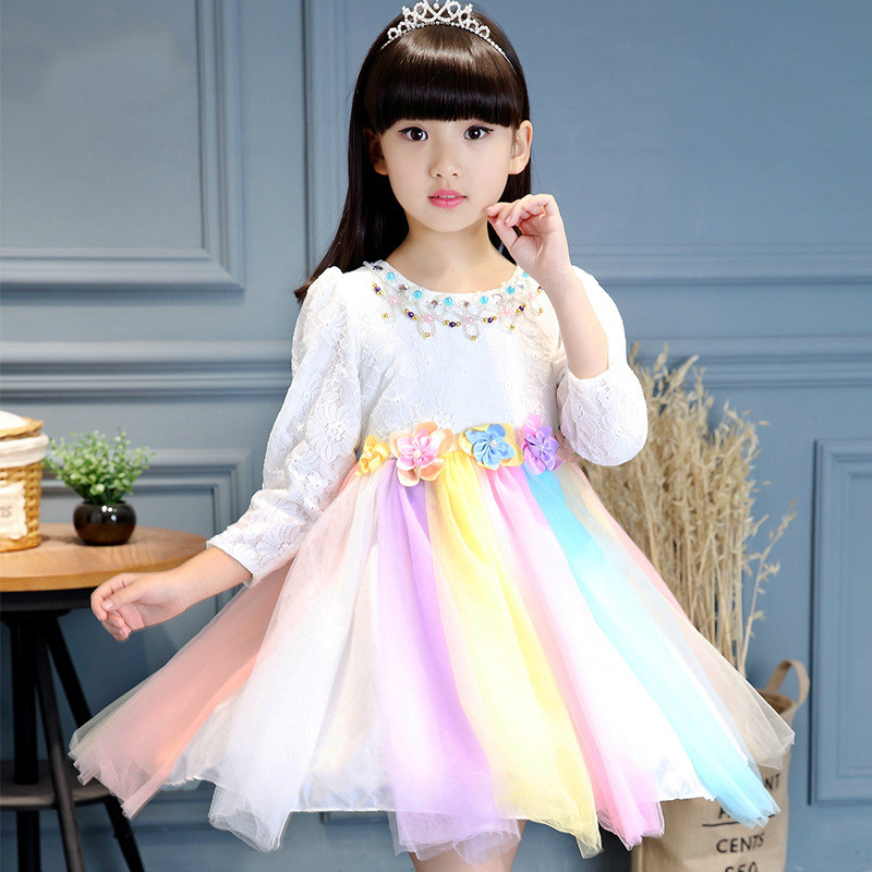 2017 New wedding Flower Girl Petals Dress Children Bridesmaid Toddler lace Dress Pageant Stage costume Hit color Rainbow Dress